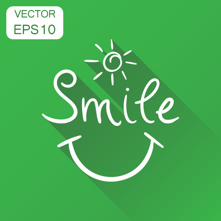 Smile text icon. Business concept hand drawn smile pictogram. Vector illustration on green background with long shadow.