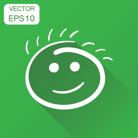 Simple smile icon. Business concept hand drawn face doodle pictogram. Vector illustration on green background with long shadow.