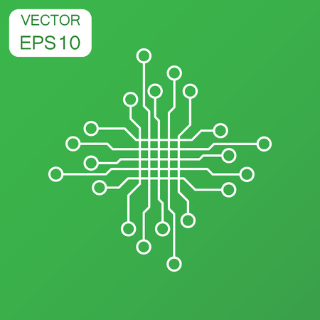 microcircuit: Circuit board icon. Business concept technology scheme pictogram. Vector illustration on green background with long shadow. Illustration