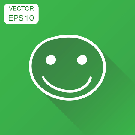 Hand drawn smiley face icon. Business concept face with smile pictogram. Vector illustration on green background with long shadow. Illusztráció