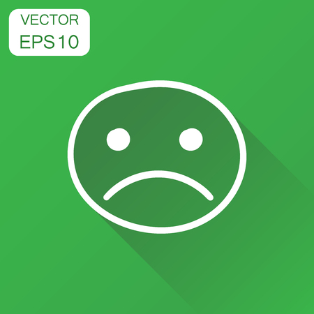 Hand drawn smiley face icon. Business concept face with sad pictogram. Vector illustration on green background with long shadow.