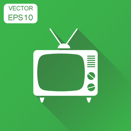 Tv icon. Business concept television pictogram. Vector illustration on green background with long shadow.
