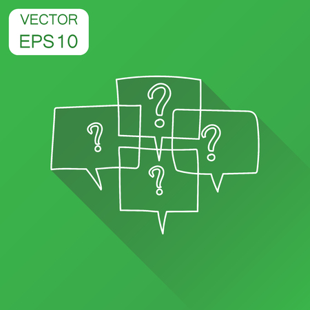 Question marks in thought bubbles icon. Business concept question pictogram. Vector illustration on green background with long shadow.