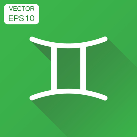 Gemini zodiac sign icon. Business concept astrology gemini pictogram. Vector illustration on green background with long shadow.