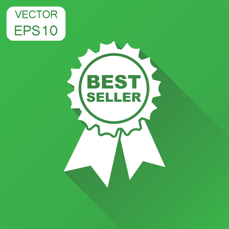 Best seller icon. Business concept best seller ribbon pictogram. Vector illustration on green background with long shadow. Illustration