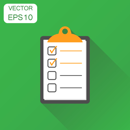 To do list icon. Business concept checklist, task list pictogram. Vector illustration on green background with long shadow. Illustration