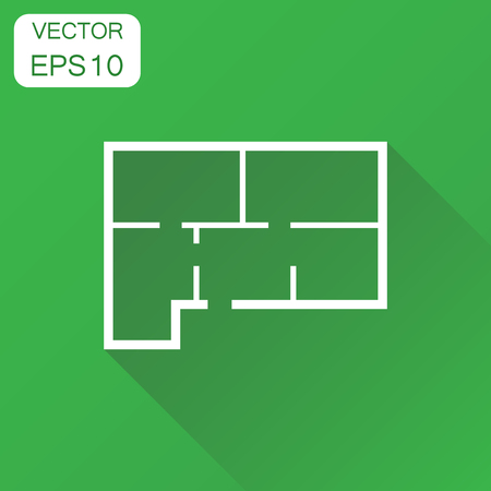 House plan icon. Business concept room plan pictogram. Vector illustration on green background with long shadow.
