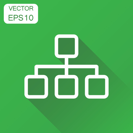 Structure chart icon. Business concept diagram pictogram. Vector illustration on green background with long shadow.