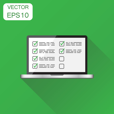 Businessman checklist with laptop icon. Business concept checklist, task list pictogram. Vector illustration on green background with long shadow. Ilustrace
