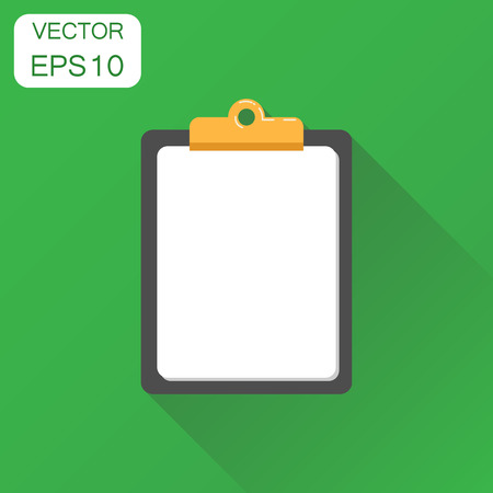 planner: Notepad icon. Business concept diary notebook pictogram. Vector illustration on green background with long shadow.
