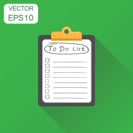 To do list notepad icon. Business concept task notebook pictogram. Vector illustration on green background with long shadow.