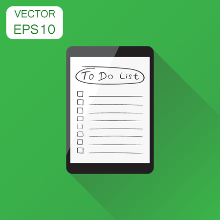 planner: Checklist with tablet computer icon. Business concept task laptop pictogram. Vector illustration on green background with long shadow.