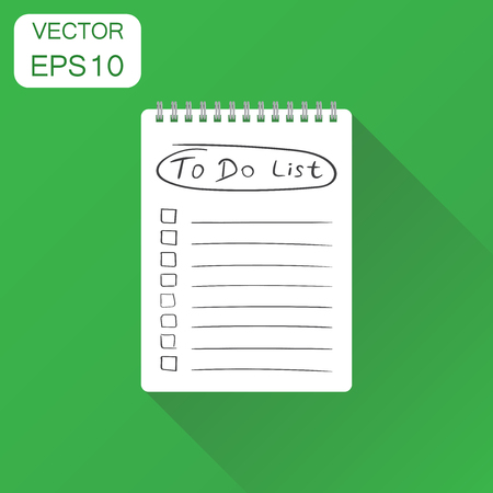 spiral notebook: Realistic notepad with spiral icon. Business concept to do list icon with hand drawn text pictogram. Vector illustration on green background with long shadow. Illustration