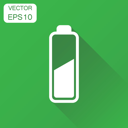 Battery charge level indicator icon. Business concept battery pictogram. Vector illustration on green background with long shadow.