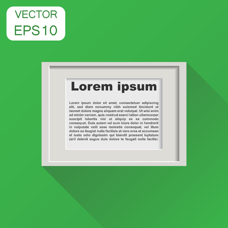 Realistic photo frame icon. Business concept pictures frame pictogram. Vector illustration on green background with long shadow. Ilustrace