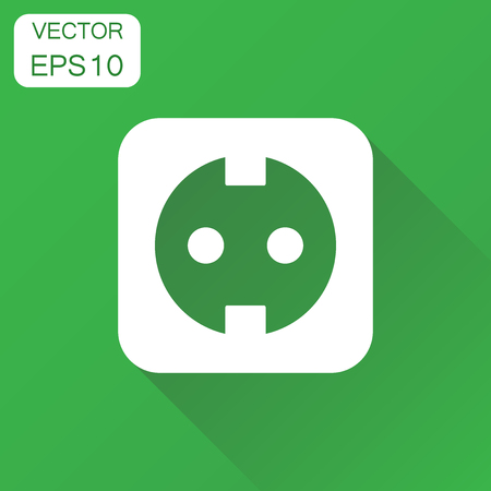 Extension cord icon. Business concept electric power socket pictogram. Vector illustration on green background with long shadow. Иллюстрация