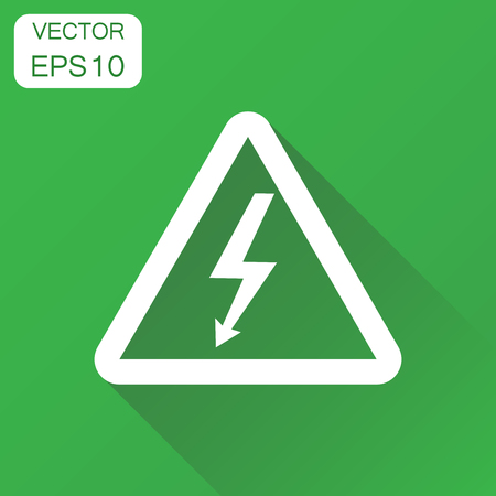 High voltage danger sign icon. Business concept danger electricity pictogram. Vector illustration on green background with long shadow.