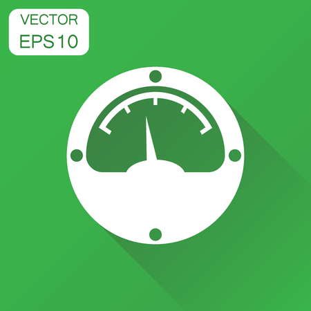 Electric meter icon. Business concept power meter pictogram. Vector illustration on green background with long shadow.