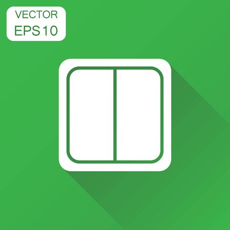 Electric light switch icon. Business concept electric switch pictogram. Vector illustration on green background with long shadow.