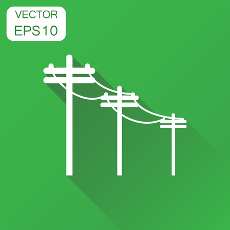 High voltage power lines icon. Business concept electric pole pictogram. Vector illustration on green background with long shadow.