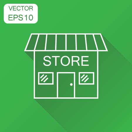 Winkel pictogram. Bedrijfsconcept markt winkel pictogram. Vectorillustratie op groene achtergrond met lange schaduw. Stock Illustratie