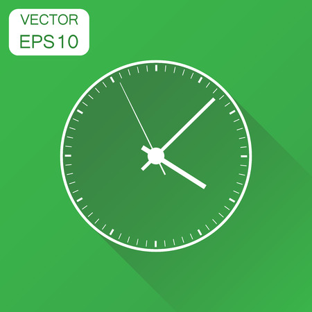 Clock icon. Business concept office alarm clock pictogram. Vector illustration on green background with long shadow. 向量圖像