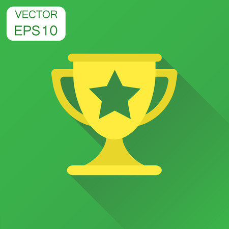 Trophy award cup icon. Business concept winner trophy pictogram. Vector illustration on green background with long shadow.