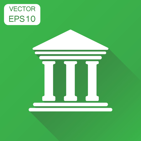 Bank building icon. Business concept bank pictogram. Vector illustration on green background with long shadow.