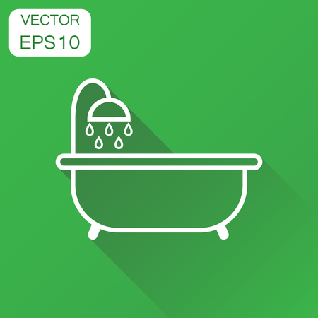 bathroom interior: Bathtub icon. Business concept bathroom shower pictogram. Vector illustration on green background with long shadow.