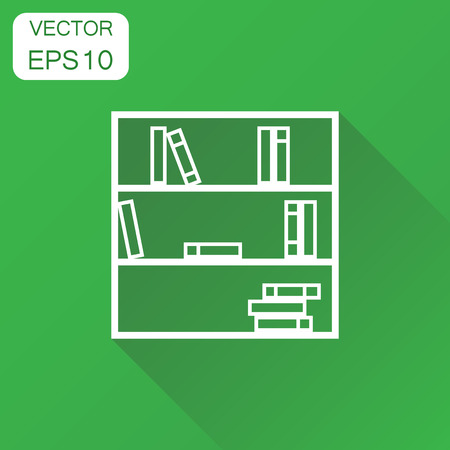 Bookcase furniture icon. Business concept office book furniture pictogram. Vector illustration on green background with long shadow.