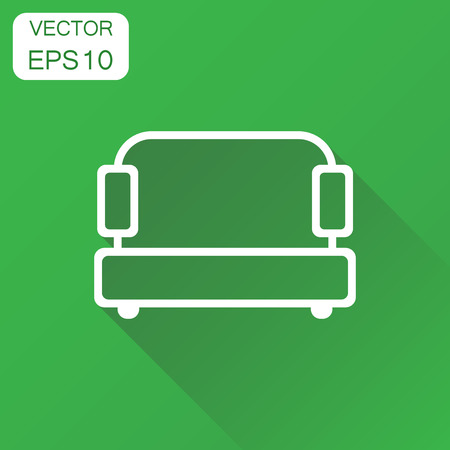Sofa icon. Business concept couch pictogram. Vector illustration on green background with long shadow.