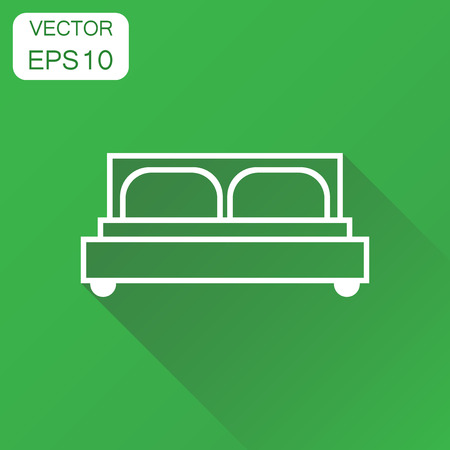 Bed icon. Business concept bed pictogram. Vector illustration on green background with long shadow. Иллюстрация