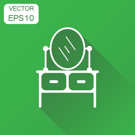 Meubilair tafel met spiegel pictogram. Pictogram bedrijfsconcept spiegel. Vectorillustratie op groene achtergrond met lange schaduw.