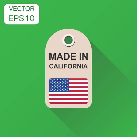 Hang tag made in California with flag icon. Business concept manufactued in California. Vector illustration on green background with long shadow.