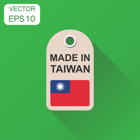 Hang tag made in Taiwan with flag icon. Business concept manufactued in Taiwan. Vector illustration on green background with long shadow.