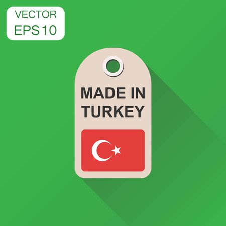 Hang tag made in Turkey with flag icon. Business concept manufactued in Turkey. Vector illustration on green background with long shadow.