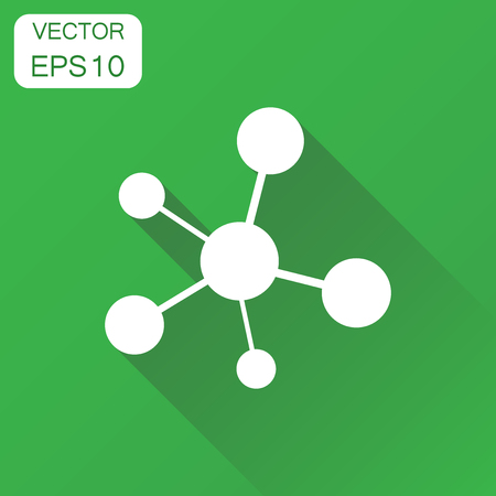 Social network, molecule, dna icon. Business concept molecule pictogram. Vector illustration on green background with long shadow.