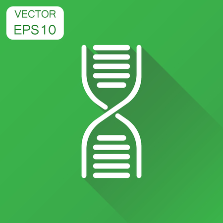 Dna icon. Business concept medecine molecule pictogram. Vector illustration on green background with long shadow.