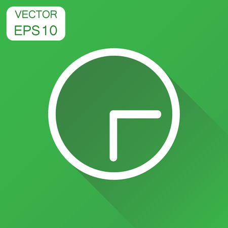 Clock icon. Business concept time watch pictogram. Vector illustration on green background with long shadow.