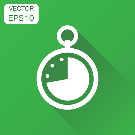 時計アイコン。ビジネスコンセプトタイムをウォッチピクトグラム。長い影を持つ緑の背景にベクトルイラスト。  イラスト・ベクター素材