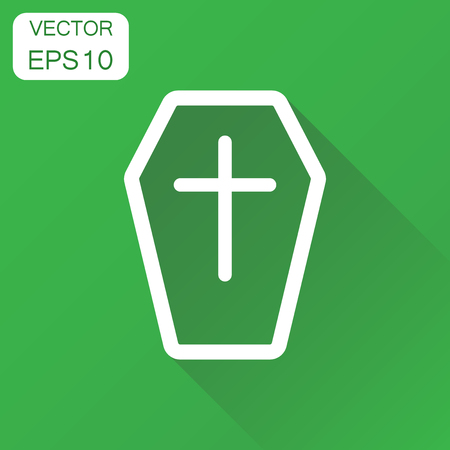 Halloween grave line style icon. Business concept gravestone pictogram. Vector illustration on green background with long shadow. Illustration