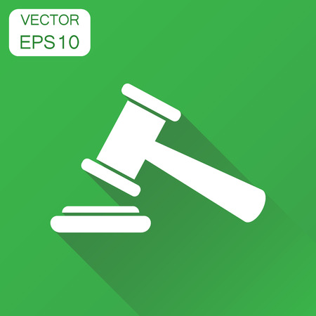 Auction hammer icon. Business concept court tribunal pictogram. Vector illustration on green background with long shadow.