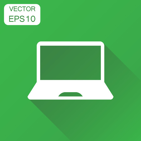 Laptop computer icon. Business concept notebook  pictogram. Vector illustration on green background with long shadow.