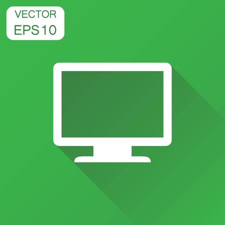 Computer monitor icon. Business concept tv screen pictogram. Vector illustration on green background with long shadow. Illustration