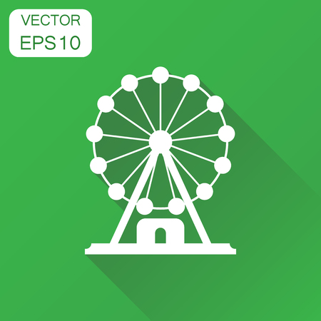Ferris wheel icon. Business concept carousel in park pictogram. Vector illustration on green background with long shadow. Иллюстрация