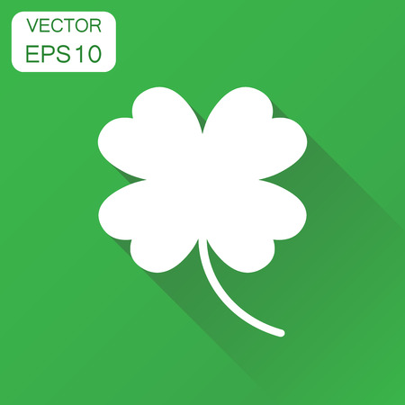 Four leaf clover icon. Business concept ?lover pictogram. Vector illustration on green background with long shadow. Illustration