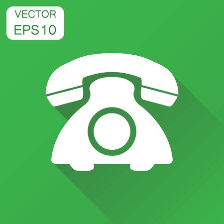 Icono de teléfono. concepto de negocio de la vendimia. ilustración de negocios. vector de la tecnología en el fondo oscuro con la larga sombra . Foto de archivo - 86295667
