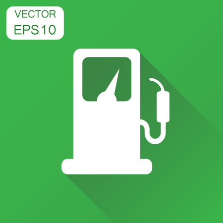 Fuel gas station icon. Business concept car petrol pump pictogram. Vector illustration on green background with long shadow.