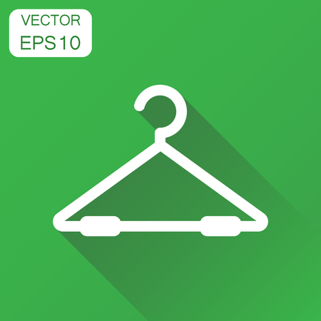 Hanger icon. Business concept wardrobe hander pictogram. Vector illustration on green background with long shadow.