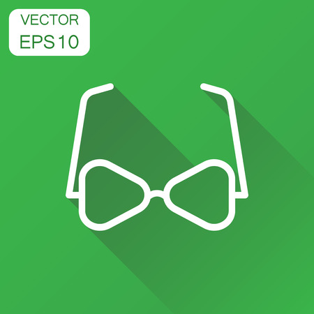 Sunglasses icon. Business concept eyewear pictogram. Vector illustration on green background with long shadow. Illustration